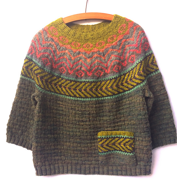Knit a Fun & Folksy Chaparral Sweater Designed By by Heidi Reszies of Folk City Studio