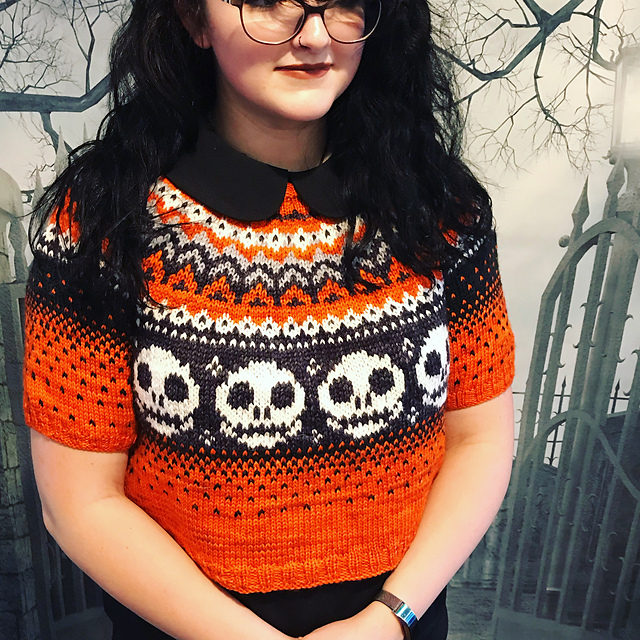 Sabrina's Sweater, Skull-Embellished and Perfect For Halloween, Knitwear Designed by Meghan Regan