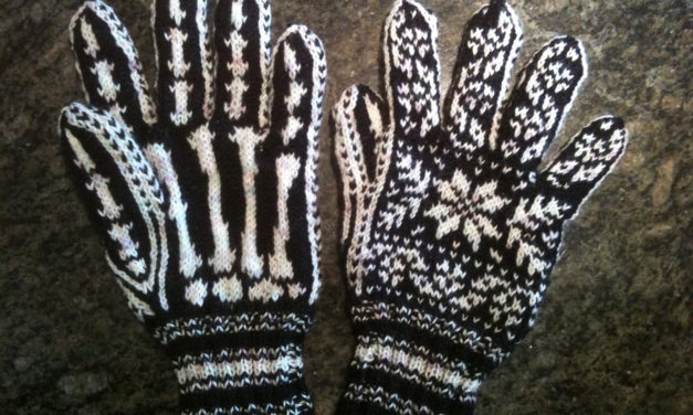Knit a Pair of Selbu Rose-Inspired Halloween Skeleton Gloves With This FREE Pattern!