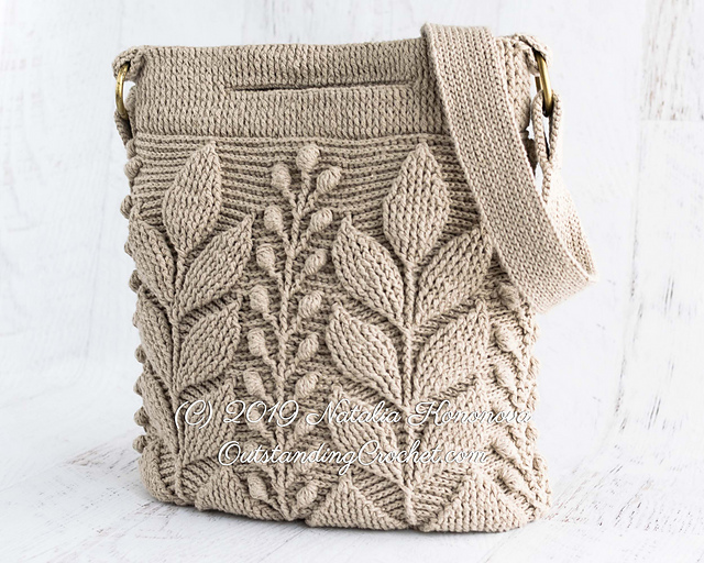Get Your Hook Out and Crochet This 3D Textured Cable Leaf Cross-Body Messenger Bag