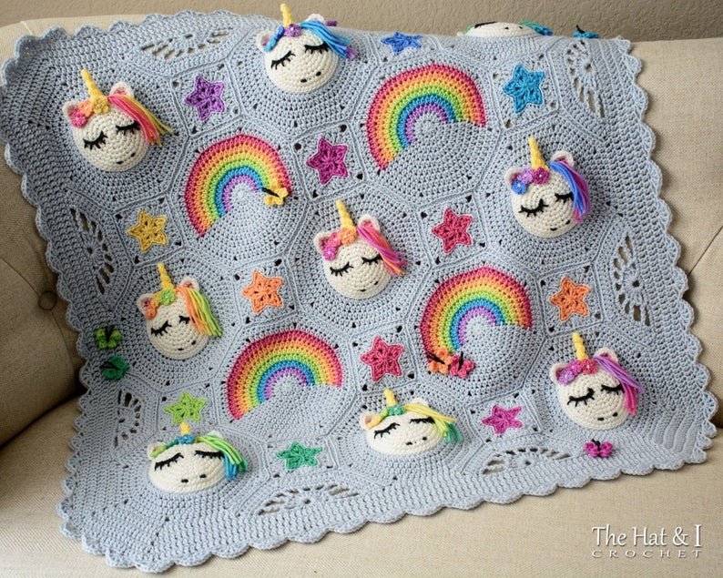 Attention Crocheters! This Might Be The Cutest Baby Blanket Ever … Unicorns & Rainbows Rule!