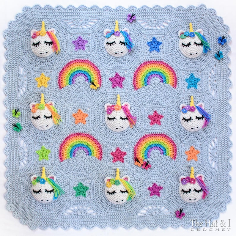 Attention Crocheters! This Might Be The Cutest Baby Blanket Ever ... Unicorns & Rainbows Rule!