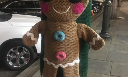 Gingerbread Man Yarn Bomb Spotted Outside a Doughnut Shop …