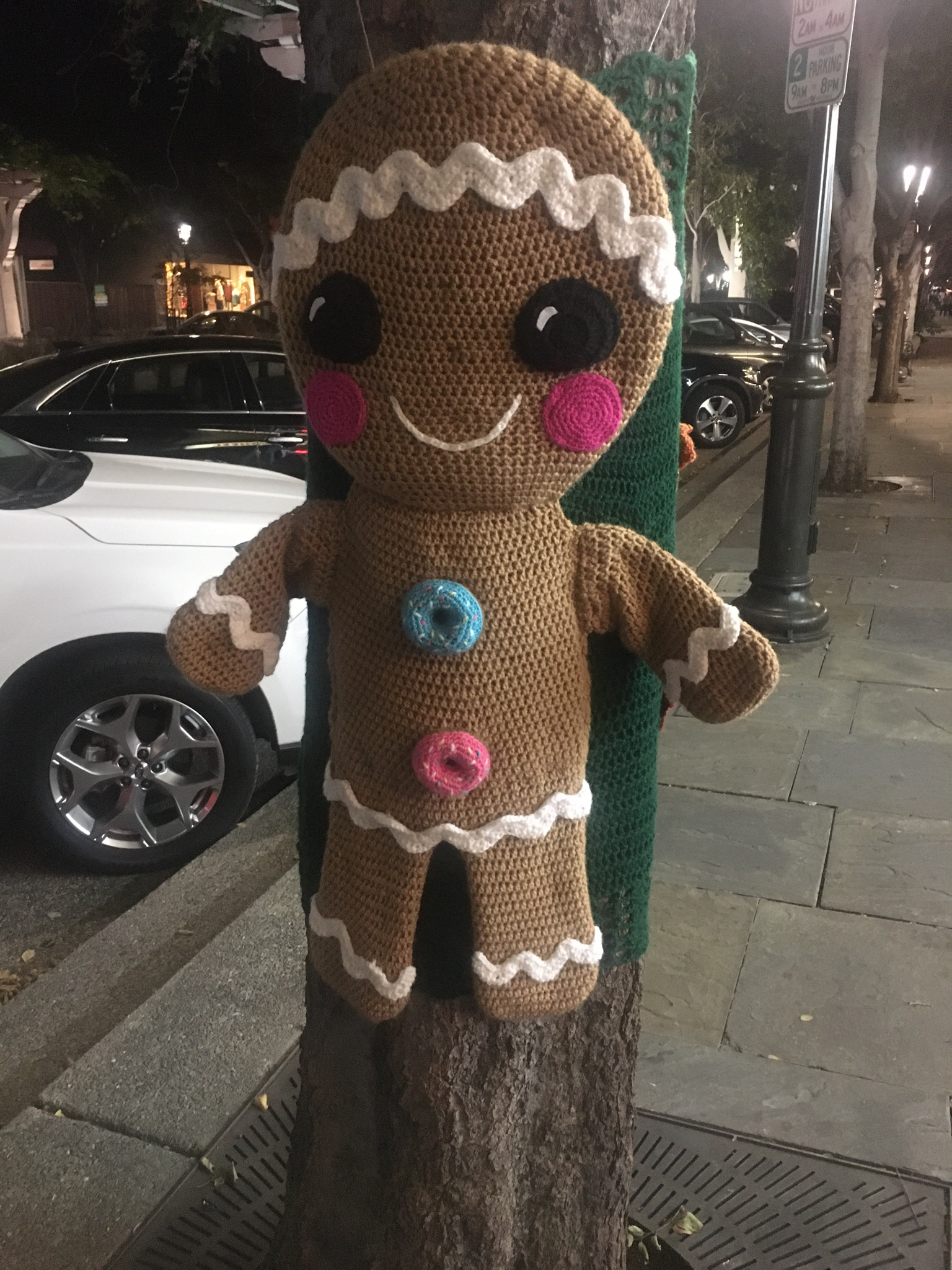 Gingerbread Man Yarn Bomb Spotted Outside a Doughnut Shop ...