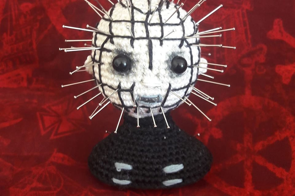 Hellraiser Fans, This Pinhead Pincushion By Claire Gobineau Of Little Mouse Crochet Is For YOU