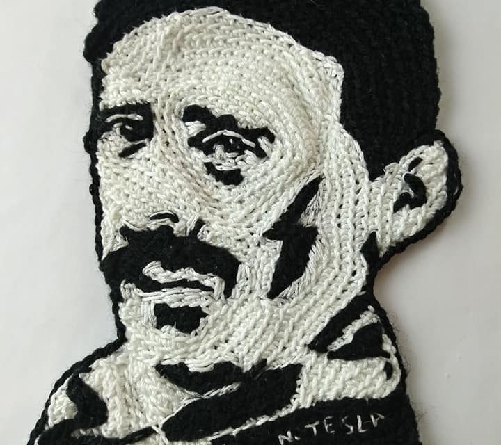 Brilliant Nikola Tesla Yarn Bomb … Love the Bolt of Electricity, Nice Touch!