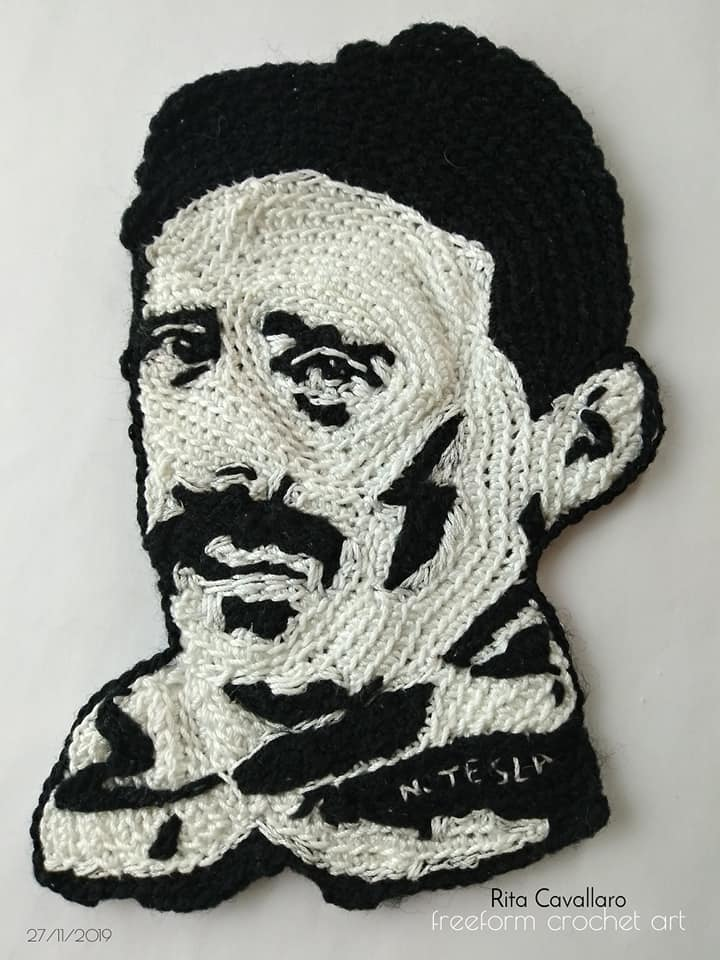 Brilliant Nikola Tesla Yarn Bomb ... Love the Lightning Bolt, Nice Touch!