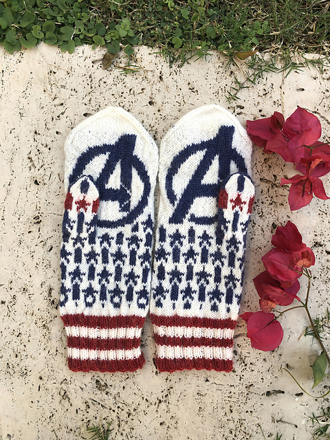 Knit a Pair of Captain America-Inspired Mittens, Designed By Lotta Lundin