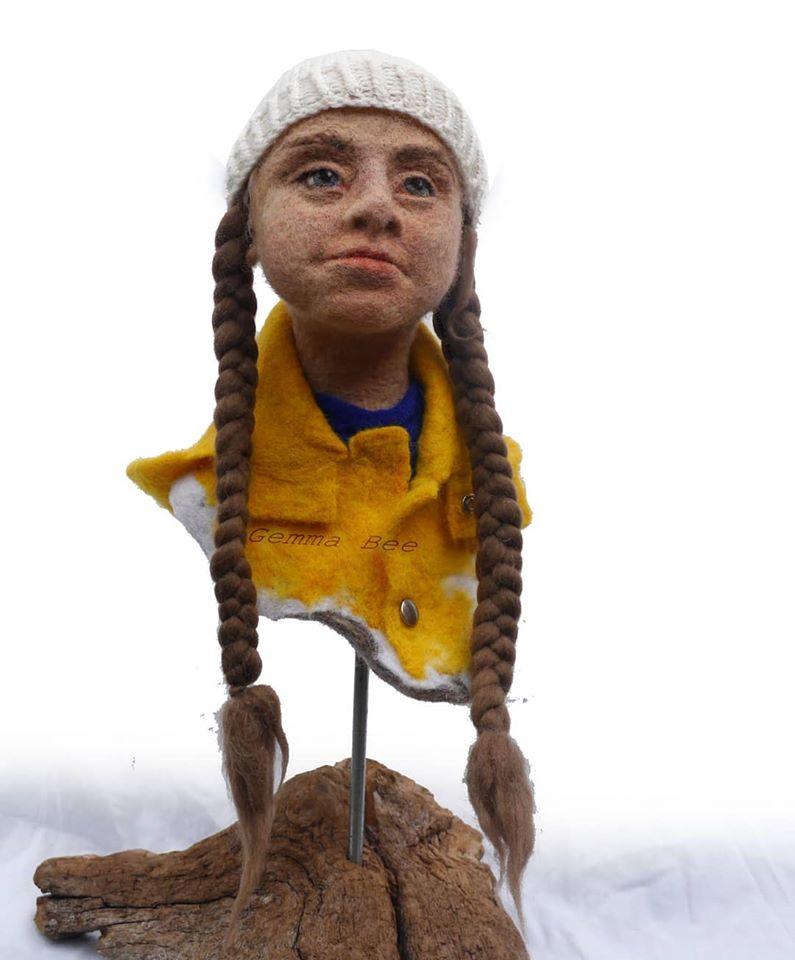 Gemma Bee Felted A Greta Thunberg, Climate Change Activist ... This Is Soft Sculpture At Its Finest!