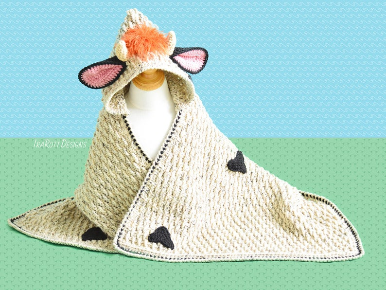Crochet a Luna the Moo-Moo Cow Hooded Blanket ... Makes a Great Baby Gift!