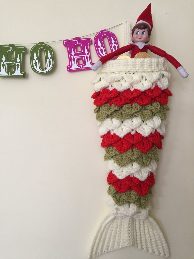 Crochet a Unique Mermaid-Inspired Christmas Stocking Using Crocodile Stitch