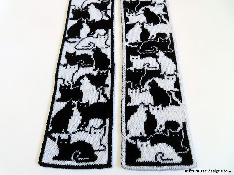 Happy Caturday! Here Are Two Double-Knit Scarf Patterns To Cast On Today! Cat-Lovers Unite In Warmth!