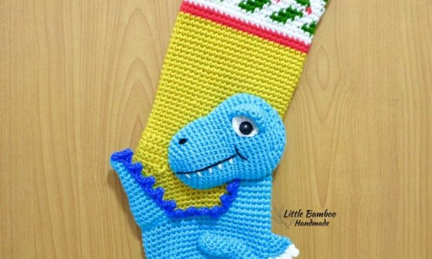 Crochet a 3D Dinosaur Stocking For Christmas, Makes a Great Gift!