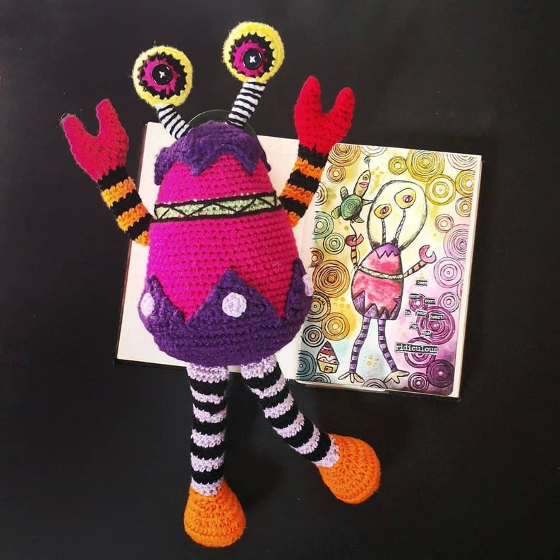 Crochet a Space Crab ... Fun Amigurumi Based On Child's Drawing