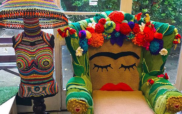 Handmade Mannequin Lamp and Frida Kahlo Chair – Fiber Art At Its Best!