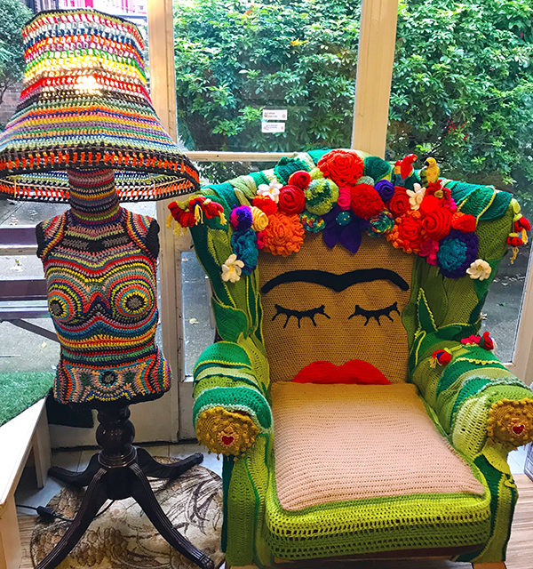 Handmade Mannequin Lamp and Frida Kahlo Chair – Fiber Art At Its Best!