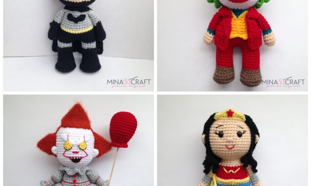 4 FREE Crochet Amigurumi Patterns: Pennywise, Joker, Wonder Woman and Batman
