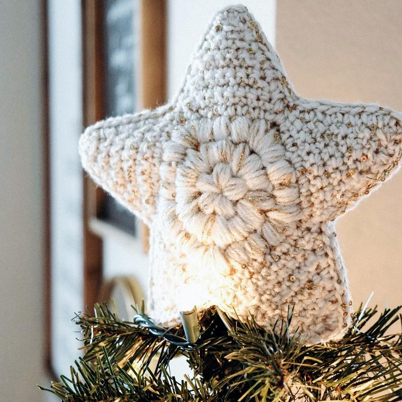 Crochet a Modern Farmhouse Christmas Tree Topper, It's Gorgeous!