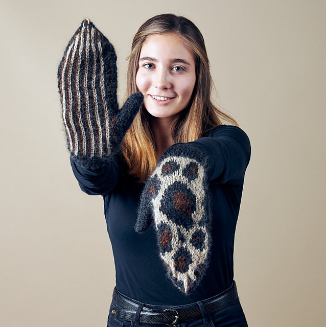 Another Free Pattern? Wow, Knit a Leopard Print Mittens Set That Rocks!