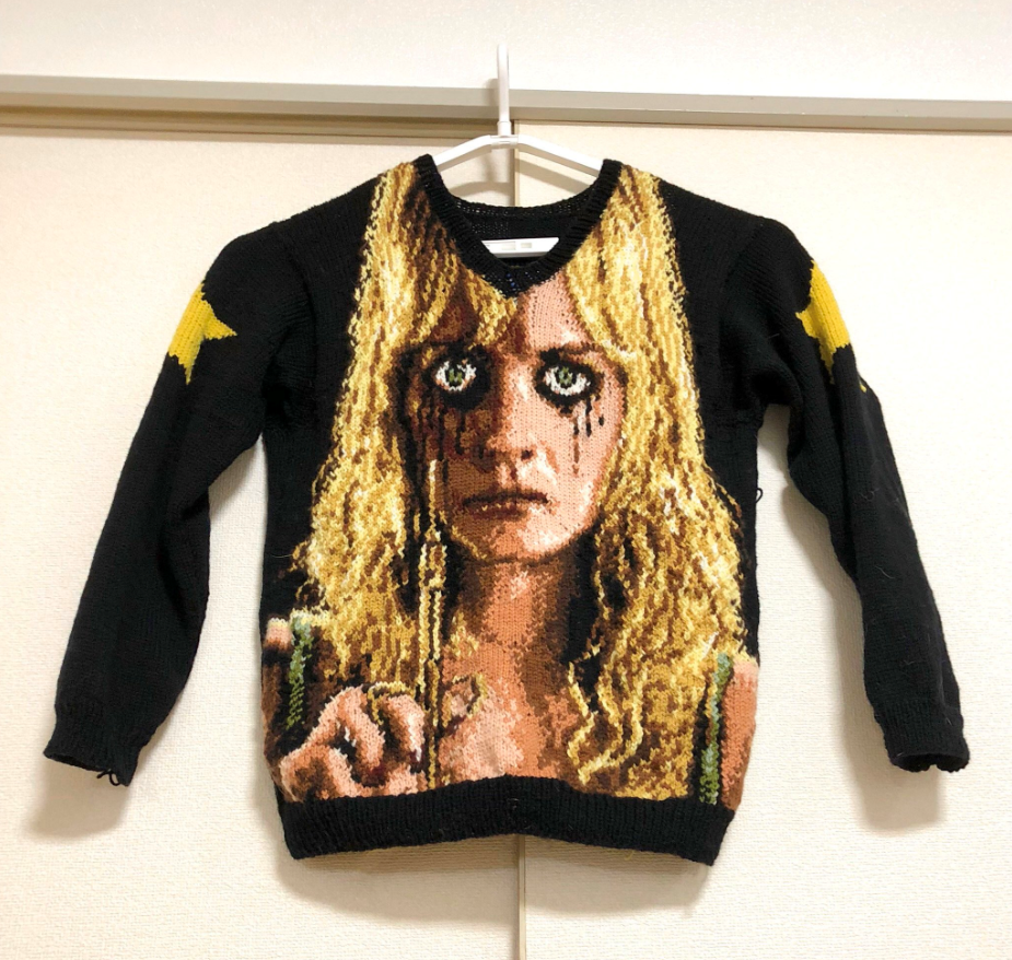 Check Out This This Knitted PLANET TERROR Sweater ... 'You Might Feel a Little Prick.'