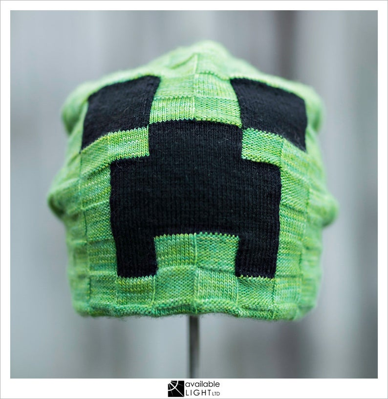 Knit a Minecraft Creeper Hat ... Designed Especially For Grown-Ups & Young Adults