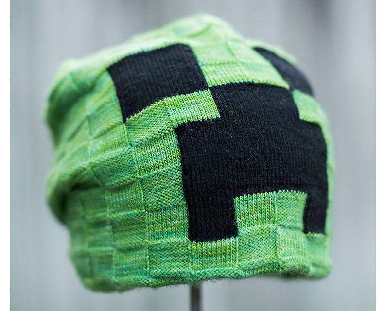 Knit a Minecraft Creeper Hat … Designed Especially For Grown-Ups & Young Adults