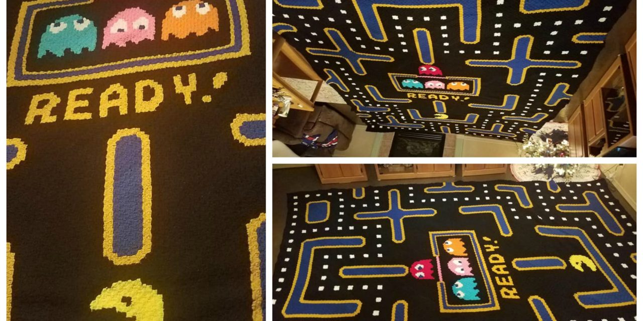 Tori Compoccio's Giant Pacman Afghan Took Over 500 Hours To Crochet … It's Awesome!