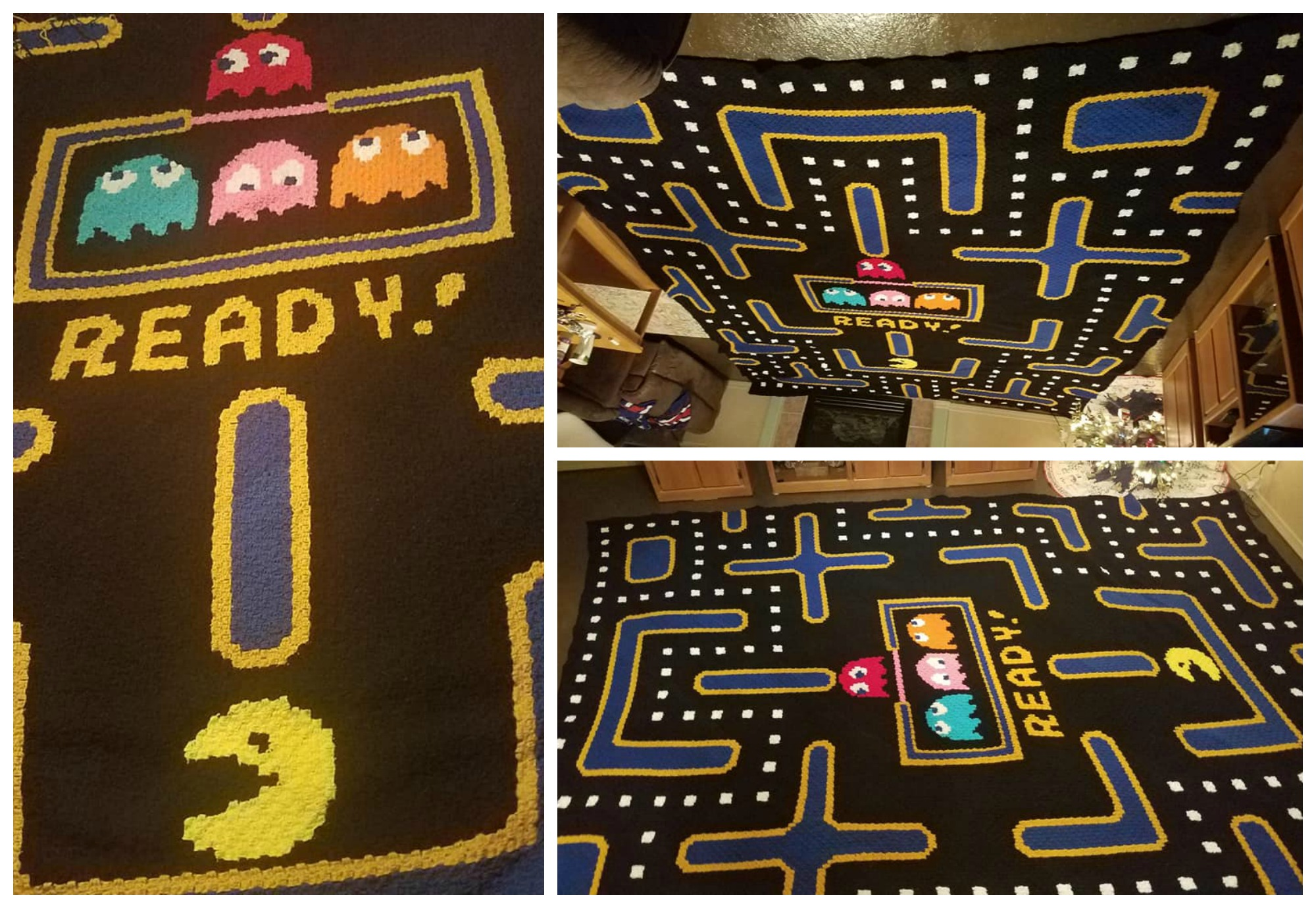 Tori Compoccio's Giant Pacman Afghan Took Over 500 Hours To Crochet ... It's Awesome!