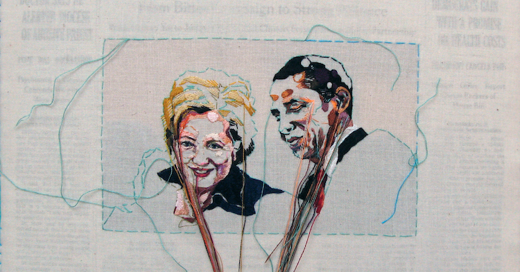 Hand-Embroidered Issues of The New York Times Featuring Bloomberg, Gaga, Clinton and Obama ... It's Lauren DiCioccio's SewnNews