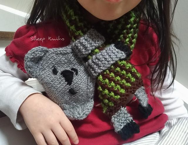 Cute Alert! Knit a Koala Keyhole Scarf Designed By Kathy Chan