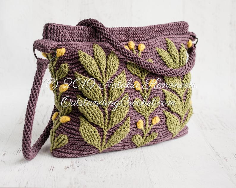 The Perfect Accessory For Spring, Crochet This Colorful 3D Textured Cabled Leaf Messenger Bag