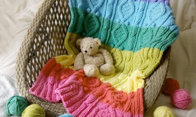 Knit a Rainbow Baby Blanket … I Spy Twists 'n' Cables 'n' Bobbles … Oh My!