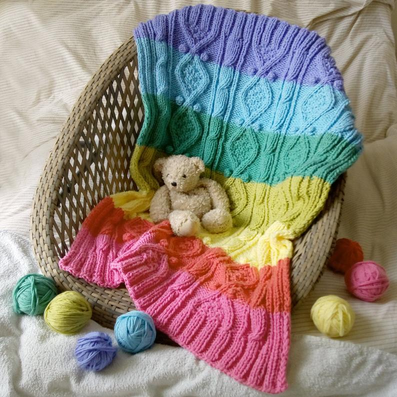 Knit a Rainbow Baby Blanket ... I Spy Twists 'n' Cables 'n' Bobbles ... Oh My!