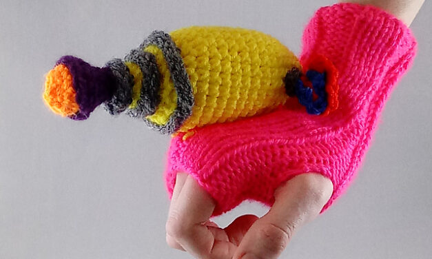 Colorful and Fun Knit and Crochet Ray Gun Mitts Designed By Kristen Lewis