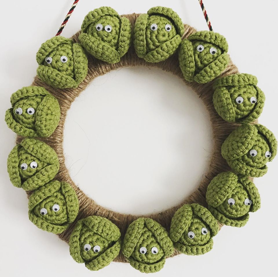 And Now For Something Different ... A Christmas Wreath Made From Crochet Brussels Sprouts Amigurumi