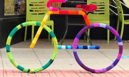 The Brightest, Most Colorful, Bike Rack Yarn Bomb … In The World!