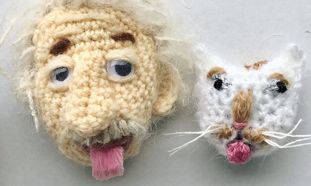 NekoKnit's Crocheted Einstein & Kitty-Cat Brooch