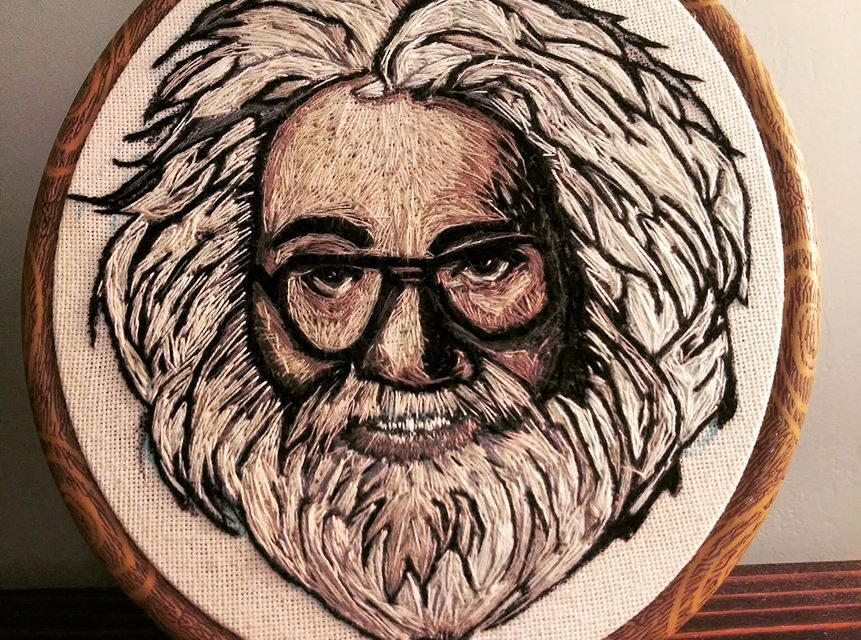 Awesome Jerry Garcia Hoop Embroidered By Cj Varron