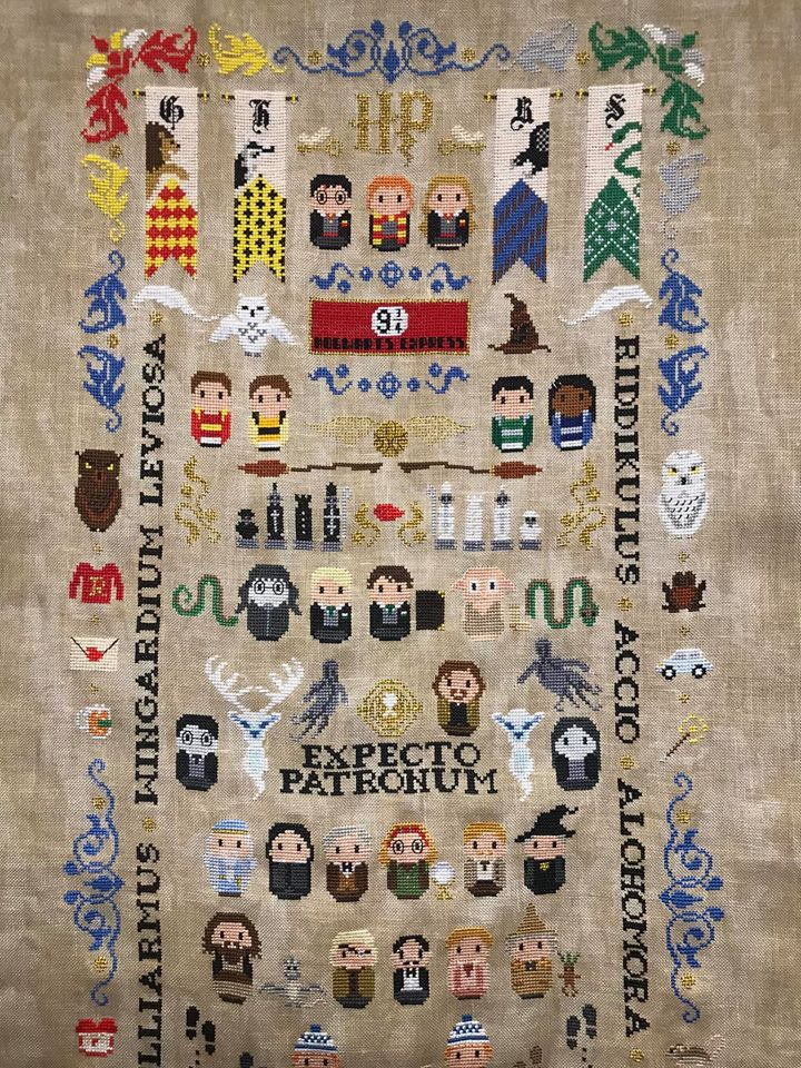 Truly Epic Harry Potter Tapestry, Cross-Stitched By Amanda Michelle, Pattern By Cloudsfactory
