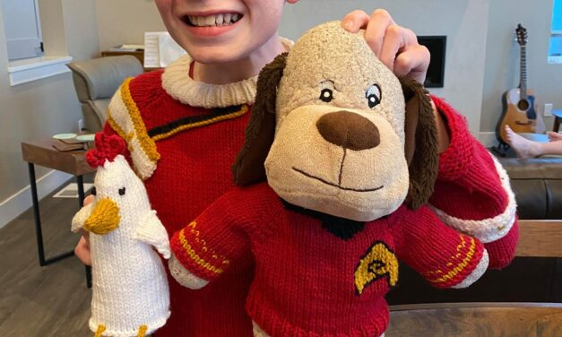 Awesome Mom Knits Her Tween Son An Amazing Admiral Kirk Sweater … And One For His Dog Too!