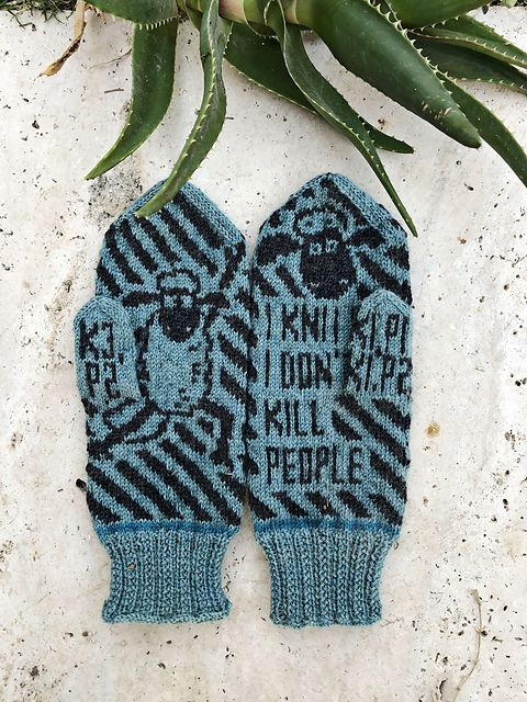 Knit a Pair of 'I Knit So I Don't Kill People' Mittens, Designed By Lotta Lundin