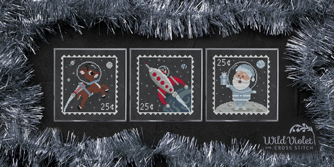 Christmas in Space Postage Stamp Cross Stitch Patterns By Wild Violet