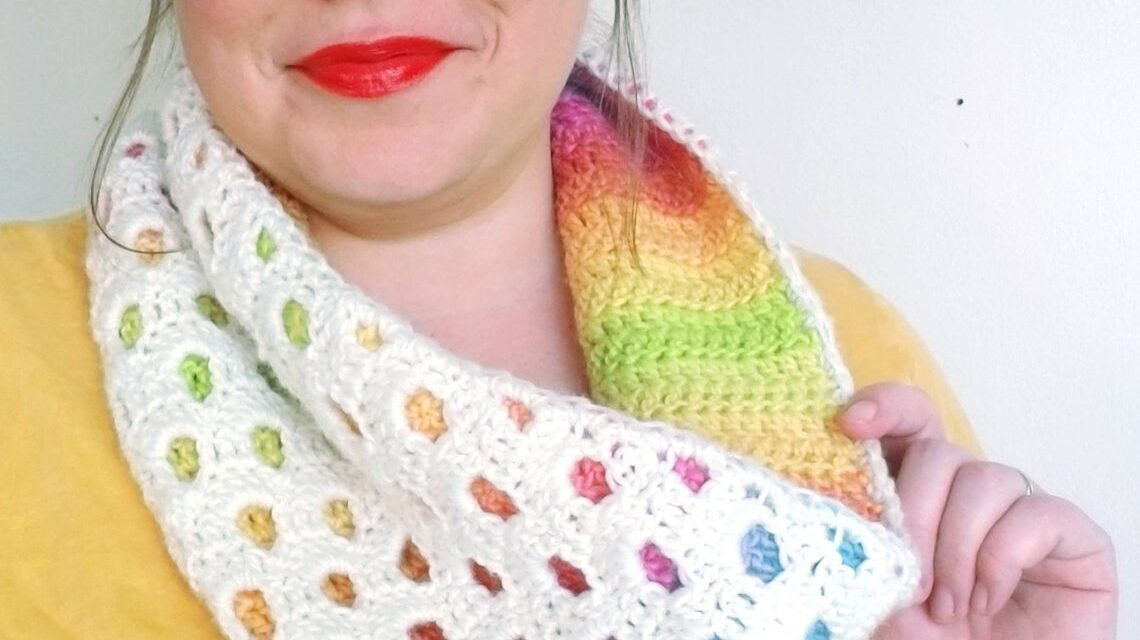Crochet a Colorful Peek-a-Boo Cowl … Very Fun and Unique!