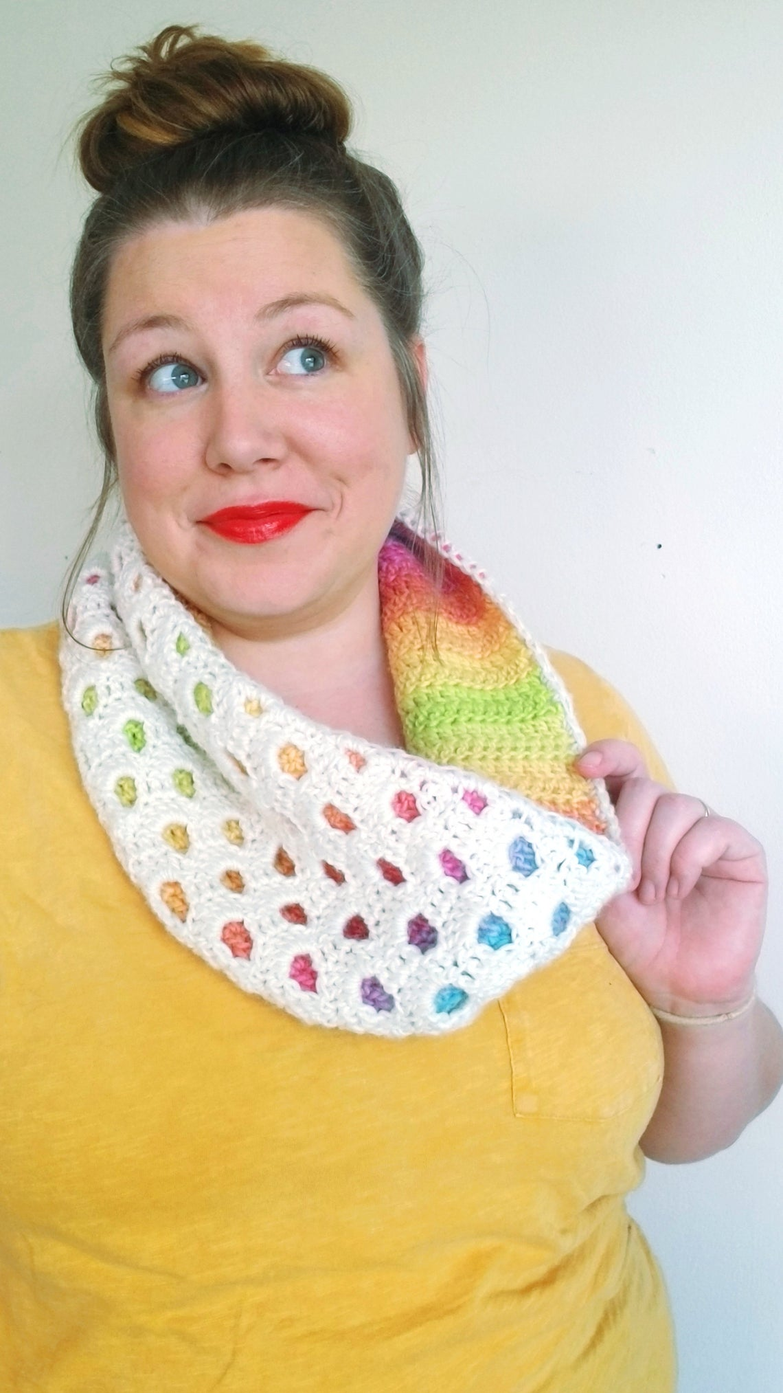 Crochet a Colorful Peek-a-Boo Cowl ... Very Fun and Unique!