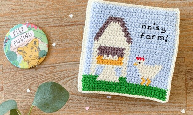 Crochet a 'Quiet Book' For Baby, New Design From The Almond Snug … It's Called Noisy Farm! I See Moo Cows!