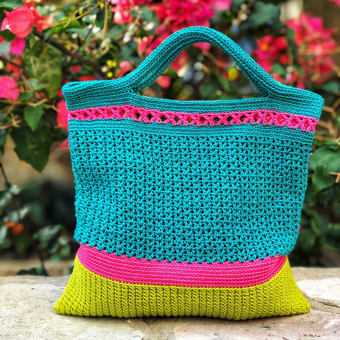 Crochet a Cute and Colorful Orchid Bag Tote, Designed By Anya Goldblatt