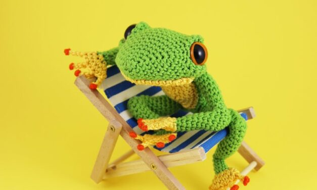 Crochet an Ernest The Frog For Save The Frogs Day, Designed By Irene Strange