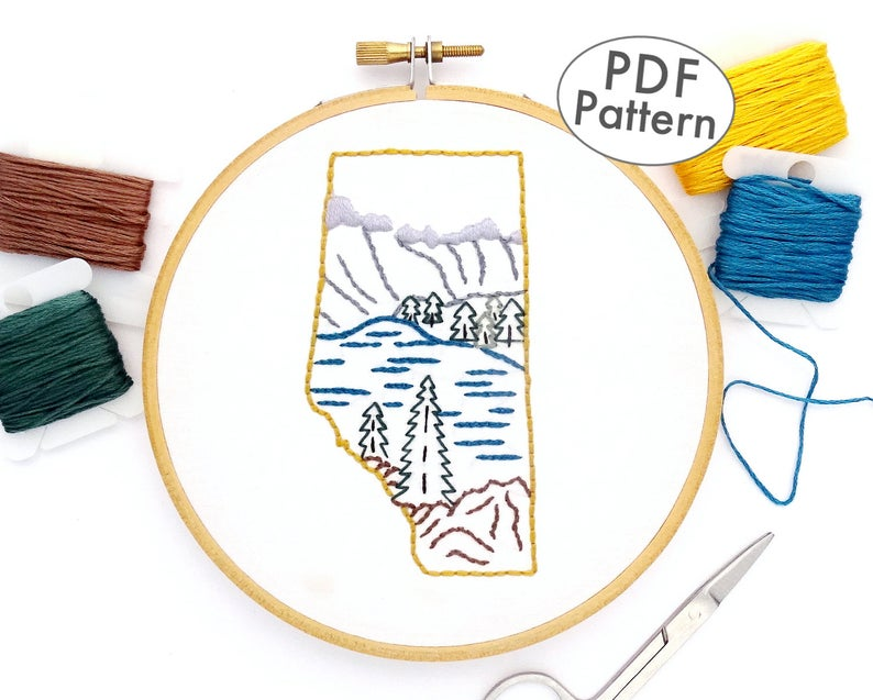 Designer Spotlight:  Hand Embroidery Inspired By Canada,  Designed By Amanda Watson of Wandering Threads Art