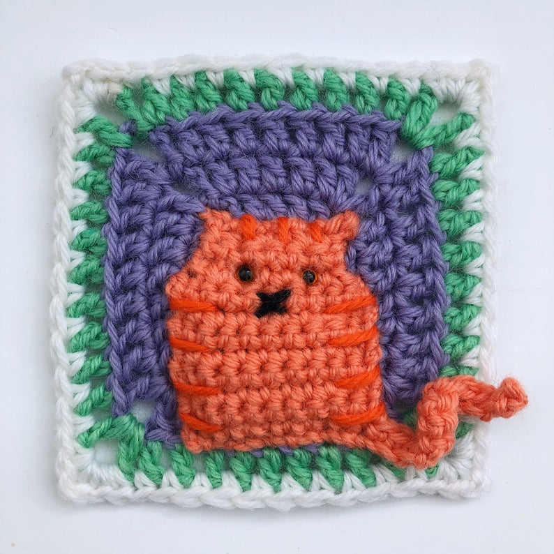 Crochet a Kitty-Cat Granny Square Pillow ... So Many Cats ... All The Cats!