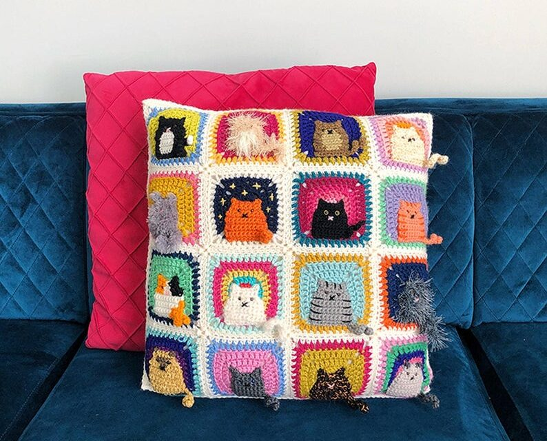 Crochet a Kitty-Cat Granny Square Pillow … So Many Cats … All The Cats!